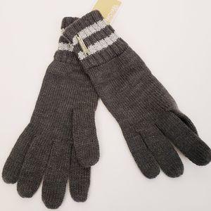 NWT Michael Kors Gray Silver Knit Winter Gloves MK Metallic